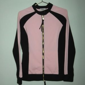 Neiman Marcus Pink Black Color Block Track Jacket